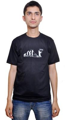 FLIRKY Printed Men's Round Neck Black T-Shirt