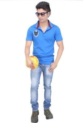 AFLASH Printed Men's Polo Blue T-Shirt