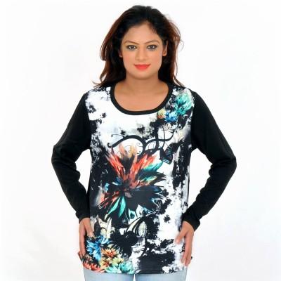 URBANTRY Printed Women's Round Neck Black T-Shirt