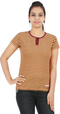 Recca Striped Women,s Round Neck Maroon T-Shirt