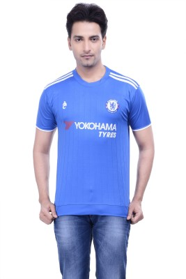 DINAAR Printed Men's Round Neck Blue T-Shirt