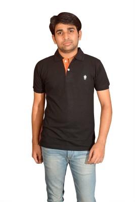 Friends United Solid Men's Polo Neck Black T-Shirt