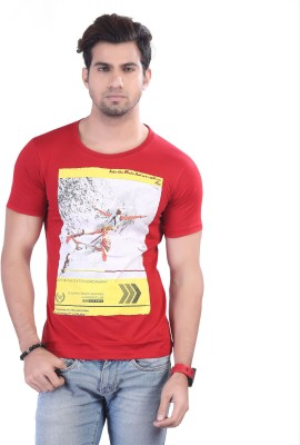 Contrast Graphic Print Men's Round Neck Red T-Shirt