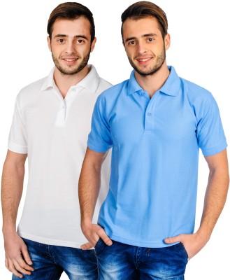 Superjoy Solid Men's Polo Neck White, Light Blue T-Shirt