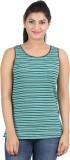 Hoodz Striped Women's Round Neck Green T...
