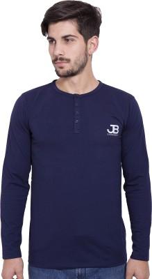 Jangoboy Solid Men's Round Neck Dark Blue T-Shirt