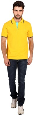 Attabouy Solid Men's Polo Neck Yellow T-Shirt