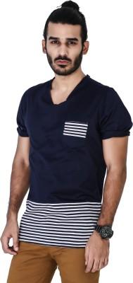 Mr Button Solid Men's V-neck Blue T-Shirt