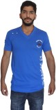 Uniqe Solid Men's V-neck Blue T-Shirt