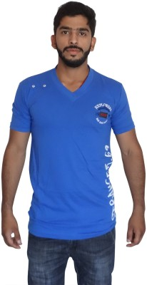 Uniqe Solid Men's V-neck Blue T-Shirt