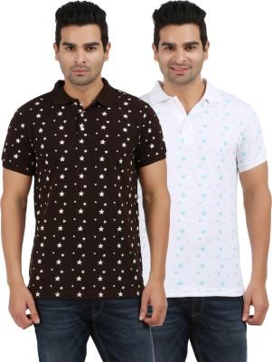AG Printed Men's Polo Neck Brown, White T-Shirt