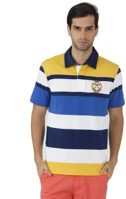 Fahrenheit Striped Men's Polo Neck Gold, Blue T-Shirt