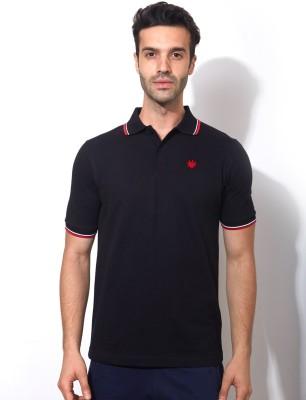 Smugglerz Solid Men's Polo Neck Black T-Shirt