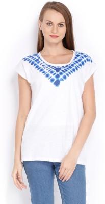 Tokyo Talkies Printed Women's Round Neck White T-Shirt