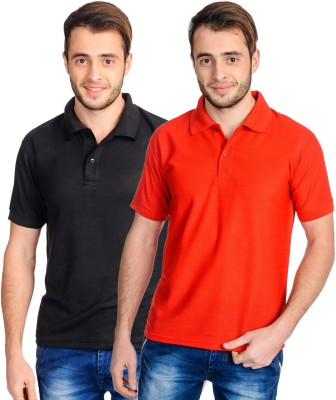 Superjoy Solid Men's Polo Neck Black, Red T-Shirt