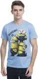 Minions Printed Men's Round Neck Blue T-...