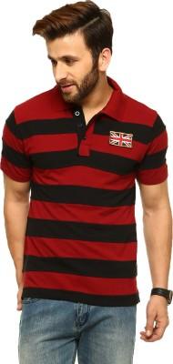 Gritstones Striped Men's Polo Neck Multicolor T-Shirt
