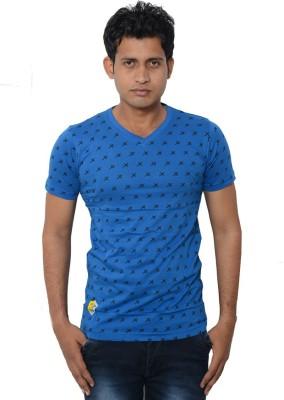 Lampara Polka Print Men's V-neck Blue T-Shirt