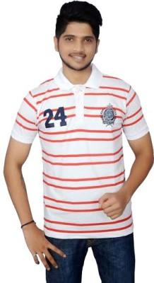 Lemon Slice Striped Men's Polo Neck White, Red T-Shirt