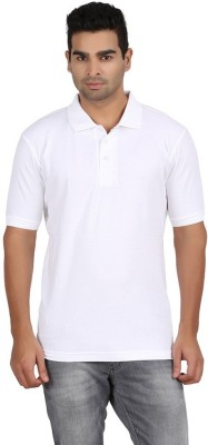Rockhard Solid Men's Polo Neck White T-Shirt