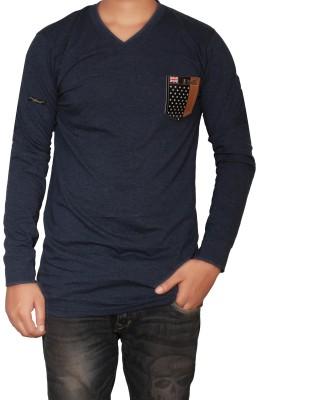 The Desi Attire Solid Men,s V-neck Dark Blue T-Shirt