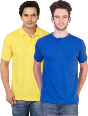 KeepSake Solid Men's Polo Neck Yellow, Blue T-Shirt