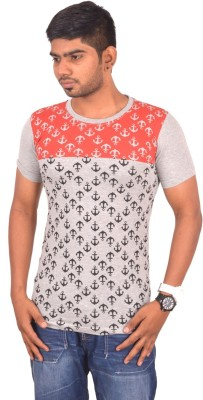 Rogue Printed Men's Round Neck Grey T-Shirt