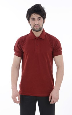 Burdy Solid Men's Polo Neck Maroon T-Shirt