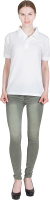 DEWY Solid Women's Polo Neck White T-Shirt
