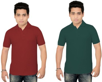 BrandTrendz Solid Men's Polo Neck Maroon, Green T-Shirt