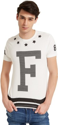 Flying Machine Printed Men's Round Neck White T-Shirt