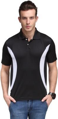 Scott International Self Design Men's Polo Neck Black T-Shirt