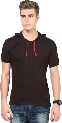 Inkovy Solid Men's Hooded Brown T-Shirt