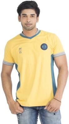 Petroficio Solid Men's Polo Neck Yellow T-Shirt