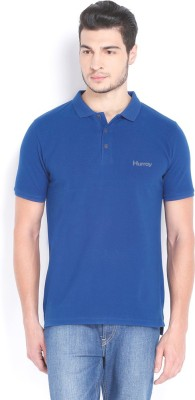 Hurray Solid Men's Polo Neck Blue T-Shirt
