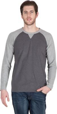 Hypernation Solid Men's Round Neck Black, Grey T-Shirt