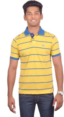 Vibgyor Striped Men's Polo Yellow, Blue T-Shirt