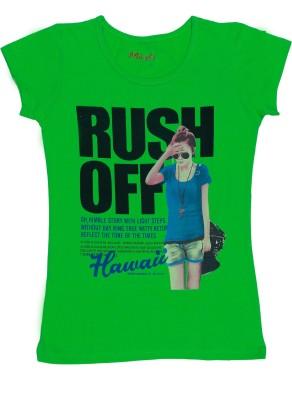 MIRICHI Graphic Print Women's Round Neck Green T-Shirt