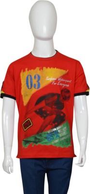 Puppet Nx Printed Boy's Round Neck Red T-Shirt