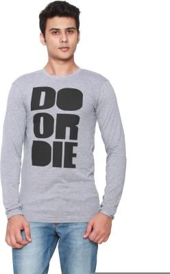 Online Maniya Self Design Men's Round Neck Grey T-Shirt
