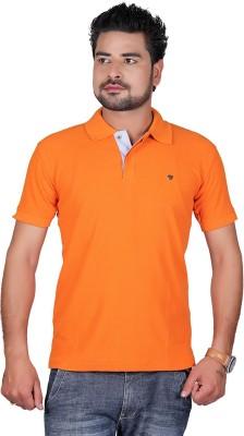 Cute Collection Solid Men's Polo Neck Orange T-Shirt