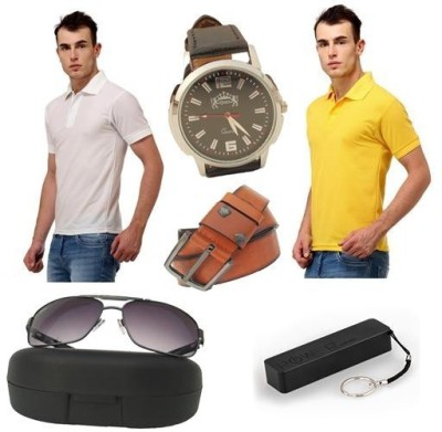Tele Queen Solid Men's Polo Neck Yellow, White T-Shirt