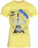 Humtees Printed Men's Round Neck Yellow ...