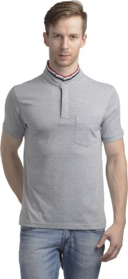 WRIG Solid Men's Mandarin Collar Grey T-Shirt