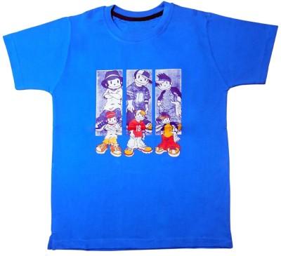 Agoras Graphic Print Boy's Round Neck Reversible Blue T-Shirt