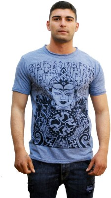 Tuntuk Printed Men's Round Neck Blue T-Shirt