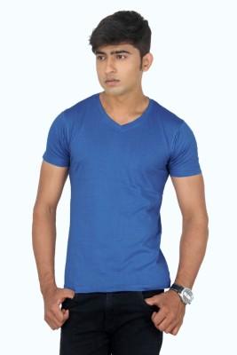 TeesTadka Solid Men's V-neck Blue T-Shirt