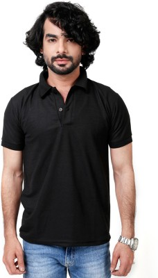 Elligator Solid Men's Polo Neck Black T-Shirt