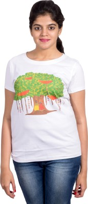 Rang Chakri Printed Women's Round Neck White T-Shirt