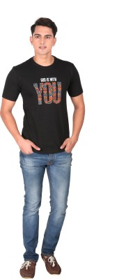 Tohfaa Printed Men's Round Neck Black T-Shirt
